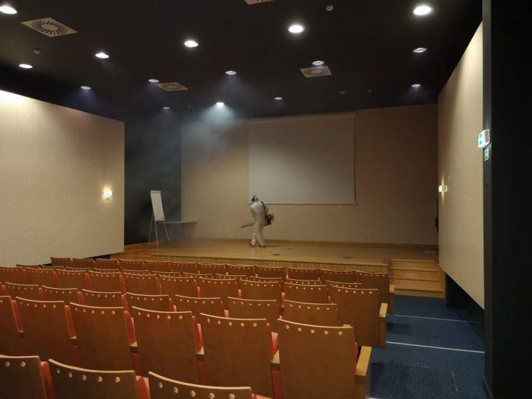 desinfeção auditório escola de aviação